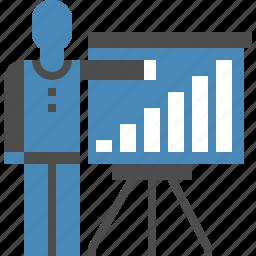 analytics, board, chart, man, presentation, report, statistics icon