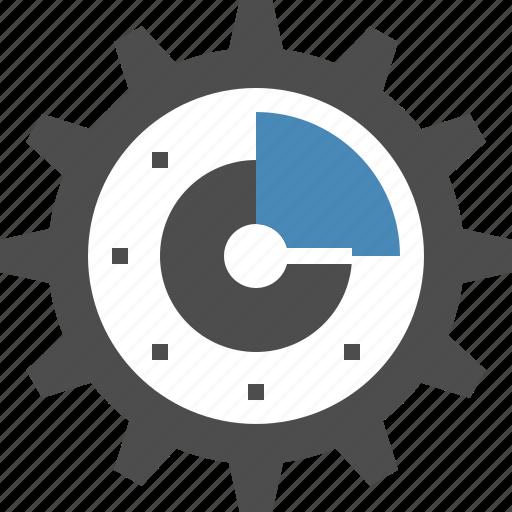 clock, cogwheel, efficiency, gear, management, optimization, time icon