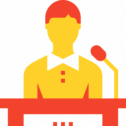communication, conference, lecture, podium, presentation, speaker, speech icon