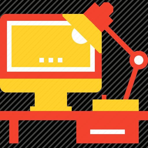 computer, desk, job, lamp, monitor, office, work icon