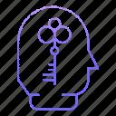 business, corporate, key, open, person icon