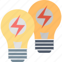 brainstorming, creative, ideas, lamps, light, solution, teamwork icon