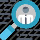 cv, employee, hire, magnifier, person, recruitment, search icon