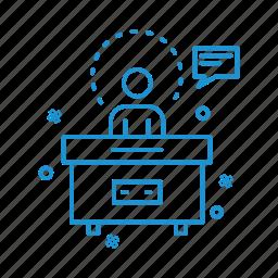 business, desk, management, reception icon