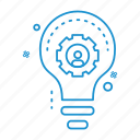 bulb, gear, idea, user icon