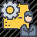 business, career, data, engineer, folder, management, worker icon