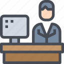 business, desk, office, worker, working, workplace icon