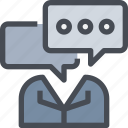 business, communication, leader, manager, meeting, message icon