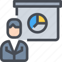 analysis, business, business man, graph, presentation, report icon