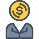 banking, business, businessman, financial, money icon