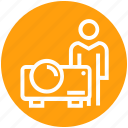 device, digital, person, projection, projector, user, video projector icon