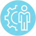 cogwheel, corporate, gear, person, setup, user, working icon