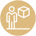 box, carton, employee, male, management, user icon