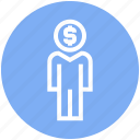 account, dollar, management, money, user icon