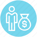 bag, business, management, money, payment, salary, user icon