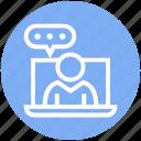 bubble, chat, laptop, management, talk, user icon
