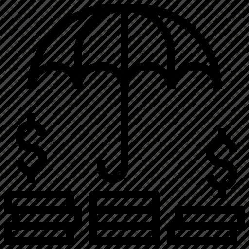 business, dollar, insurance, money, protection, security, umbrella icon