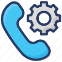 call maintenance, call settings, call setup, customized settings, receiver with gear icon