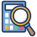 accounting audit, accounting search, business research, financial search, investment analysis icon