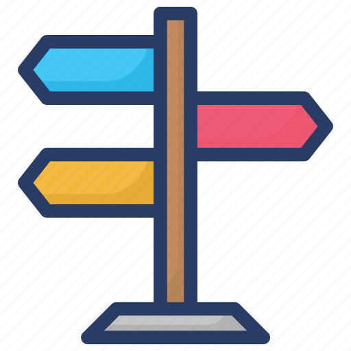 direction guide, fingerpost, guidepost, path guide, road guide icon