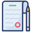 article, blog writing, business article, business letter, content writing, contract, writing article icon