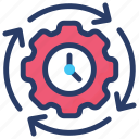 changing time, clock with gear, preference, schedule, time period, time setting icon
