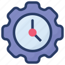 clock with gear, preference, schedule, time period, time setting icon