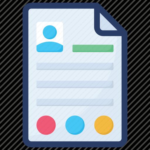 biography, cv, personal data, profile, resume, user profile icon