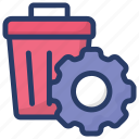 garbage maintenance, gear with bucket, recycle bin, waste management, waste recycle, waste settlement icon
