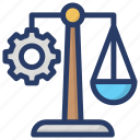 business management, imbalance, justice scale, management scale, measuring instrument icon