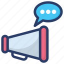 advertisement message, megaphone with chat, promotion message, promotion text, sponser icon