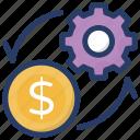 cashflow settings, financial configuration, financial flow settings, money flow, money optimization icon