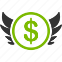 angel investor, dollar, finance, invest, investment, money, wing icon