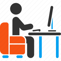 administrator, armchair, blogger, boss, coder, desk, office icon