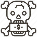 bones, dollar, money, skull icon