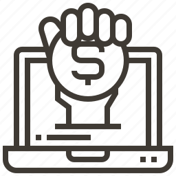 coin, device, dollar, hand, money icon