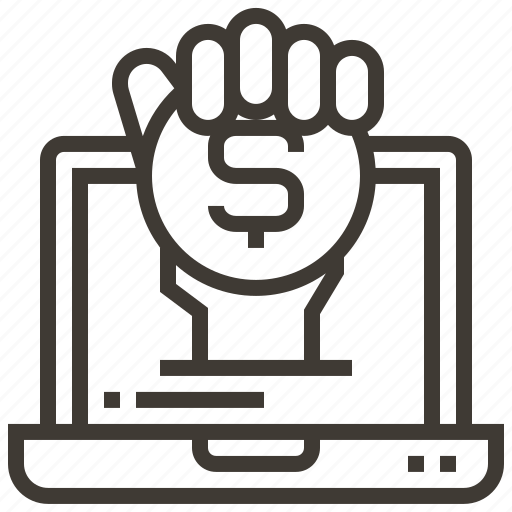 coin, device, dollar, hand, money icon