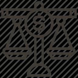 balance, dollar, money, scales icon
