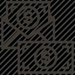 dollar, envelope, money icon