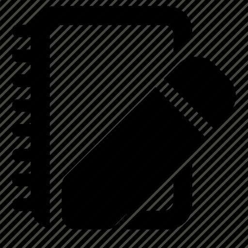 notebook, pencil icon
