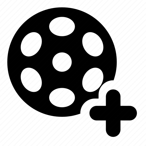 add, bobbin, film, reel, video icon