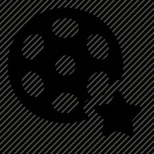 bobbin, favorite, film, reel, video icon