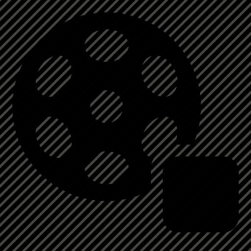 bobbin, film, reel, stop, video icon