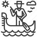 gondola, gondolier, italy, venice icon