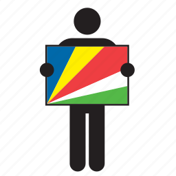 country, flag, holding, man, seychelles icon