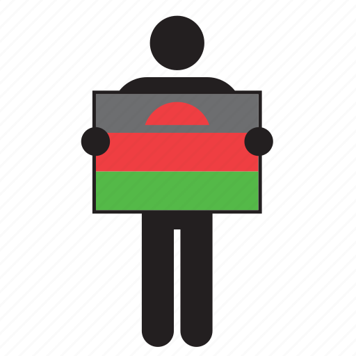 country, flag, holding, malawi, man icon