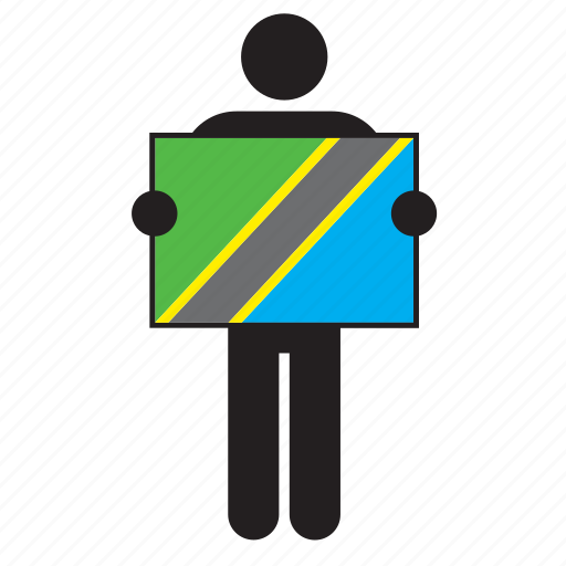 africa, african, country, flag, holding, man, tanzania icon
