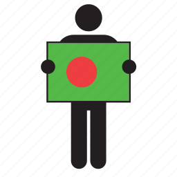 bangladesh, country, flag, holding, man icon