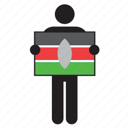 country, flag, holding, kenya, kenyan, man icon