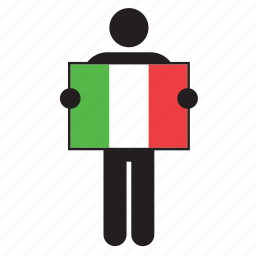 country, flag, holding, italian, italy, man icon